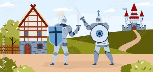 Tela Medieval knights tournament horizontal background, flat vector illustration