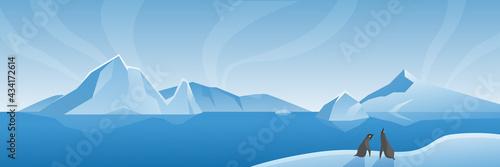 Billede på lærred Arctic Antarctic wide landscape panorama vector illustration