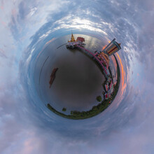 Little Planet 360 Degree Sphere. Panorama Of Aerial View Of Wat Hong Thong With Lake Or Sea, Chachoengsao Near Bangkok City, Thailand. Thai Buddhist Temple Architecture. Tourist Attraction.