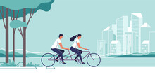 Couple Are Riding On Bicycle On The Urban Lanscape Background. Vector Illustration.