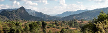 Panorama Of Beautiful Valley Landscape In Magical Myanmar