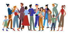 People Walk In Crowd Vector Illustration. Cartoon Different Ages And Multiethnic Diverse Crowd Group Of Man And Woman Characters In Casual Clothes Walking, Holding Smartphone Isolated On White