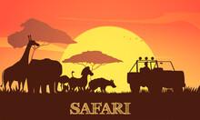 Beautiful African Sunset Safari Illustration With Giraffe Elephant Zebra Acacia Trees Jeep Silhouettes