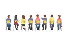 Training With People Characters Sitting In Row On Chairs Listening Back View Vector Illustration