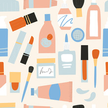Cosmetics Seamless Pattern. Containers And Tubes For Make Up. Lipstick, Face Cleanser, Mascara, Nail Polish, Brushes In Cute Hand Drawn Textured Packages. Organic Eco Beauty Products.