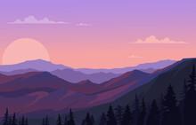 Beautiful Pine Forest Mountain Panorama Landscape Flat _6