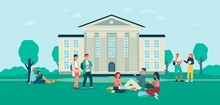 Background With Students In Front Of College Campus, Flat Vector Illustration.