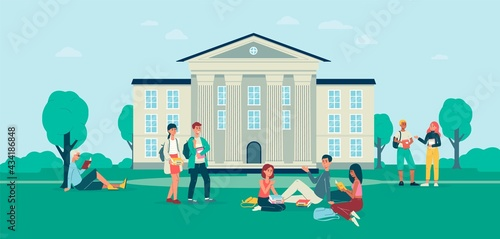 Papel de parede Background with students in front of college campus, flat vector illustration