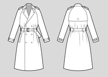 Classic Trench Coat With Raglan Sleeves And Belt .