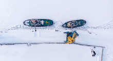 Ice Bound Ships Froze In Snow In Winter, Waiting For Breaker, Aerial Top View