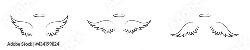 Fotografie, Obraz One line drawing wings set isolated on white background