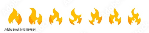 Yellow fire icons flat collection. Fire flame icons. Fire safety vector illustration. Vector flame illustration. Vector emoticon set. Vector graphic.