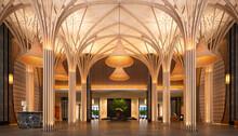 3d Render Of Luxury Hotel Entrance Reception Lobby