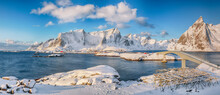Panoramic Winter View On  Reine And Sakrisoya Villages  And Bridge To Olenilsoya Island.