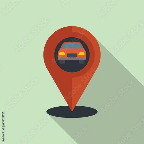 Hitchhiking car location icon, flat style Fotobehang