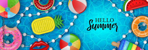 Fotografia Hello summer banner with inflatable balls, mattress and swimming rings on pool w