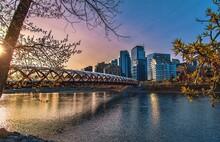 Bright Sunrise Over The Peace Bridge