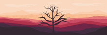 Silhouette Of Dead Tree In The Mountain Landscape Flat Design Vector Illustration