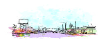 Building View With Landmark Of Fontana Is The  City In California. Watercolor Splash With Hand Drawn Sketch Illustration In Vector.
