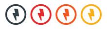 Charge Flash, Thunder Bolt, Lighting Strike, Electricity Icon Round Button Set Illustration