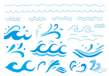 手描きのシンプルな波線・波イラストセット(カラー)