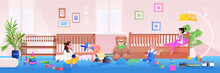 Little Children Playing At At Home Or Kindergarten Childhood Concept