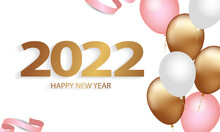 Happy New Year 2022 Elegant Golden Text With Balloons Confetti