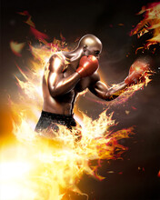 Strong Boxer With Flame Effect 3D Style