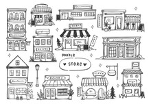 Set Of Hand Drawn Store Front