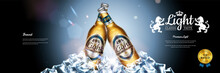 Classic Lager Beer Banner Banner With Ice Cubes Elements 3D Style