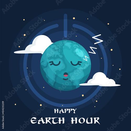 Valokuvatapetti Earth Hour Illustration With Planet Sleeping_2