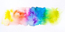 Colorful Watercolor Brush Background. Abstract Watercolor Stain With Paint Blotch For Banner, Template, Element For Decoration.
