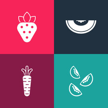Set Pop Art Tomato, Carrot, Melon Fruit And Strawberry Icon. Vector