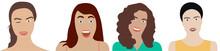Rostros De Mujeres Diferentes. Gestos. Fondo Transparente