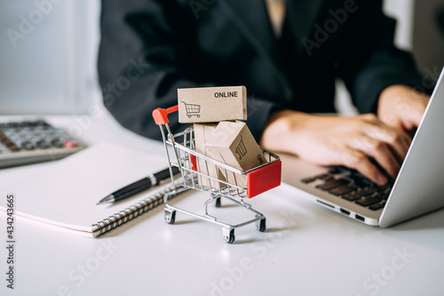 Canvas card box small in shopping cart with businesswomen using laptop on a desk, e-commerce, and delivery online business concept