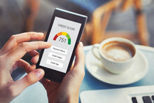 Credit Score Concept On The Screen Of Smartphone