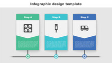 Set Pills In Blister Pack, Digital Thermometer And Emergency Car. Business Infographic Template. Vector