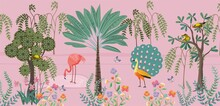 Wall Murals Landscape Forest On Pink Background