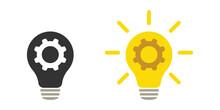 Lamp And Cogwheel - An Innovative Lamp And Gear. Web Design.