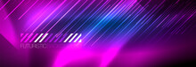 Neon Glowing Lines, Magic Energy And Light Motion Background. Vector Wallpaper Template