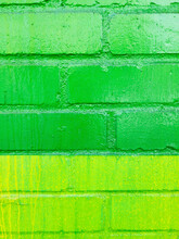 Bright Green And Yellow Painted Brick Wall With Great Texture For Photoshop Projects And Backgrounds