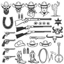 Wild West Design Elements. Cowboy Weapon, Hat, Boots, Lasso, Cowboy Skull. Design Element For Logo, Label, Sign, Emblem. Vector Illustration