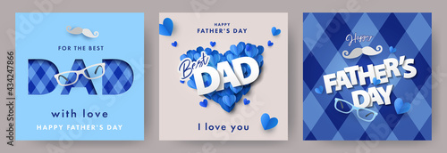 Set of Father's Day greeting cards in modern paper cut style Fototapet