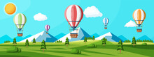 Hot Air Balloon In The Sky With Clouds And Sun. Vintage Air Transport. Nature Outdoor Background. Aerostat With Basket. Nature Landscape Of Green Hills. Flat Vector Illustration