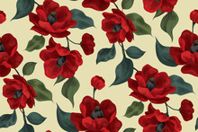 Seamless Pattern With Large Red Flowers. The Blossoming Buds Of Lush Red Flowers Along With Foliage On A Branch. Floral Background. Vector.