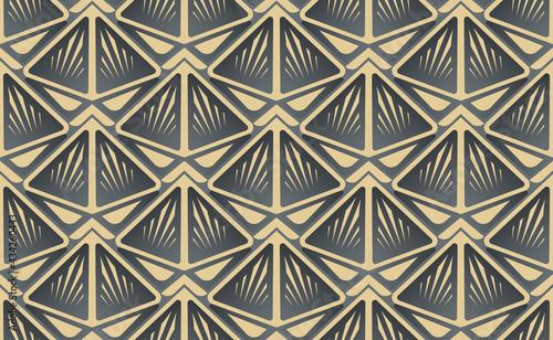 Fotografiet Triangle gold balck luxury seamless pattern