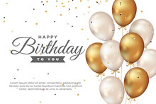 Happy Birthday Greeting Template With Balloon And