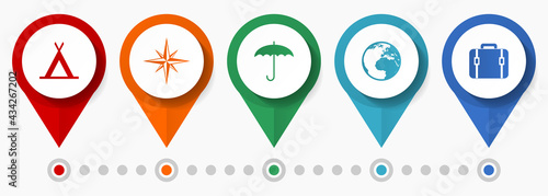 Canvastavla Travel and adventure concept vector icon set, flat design pointers, infographic