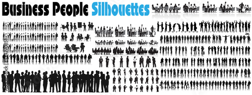 Business People Silhouettes. Business People Corporate Company Concept , Black Color Isolated On White Background .