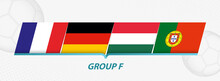 Group F Participants Of European Football Competition On Abstract Soccer Background.